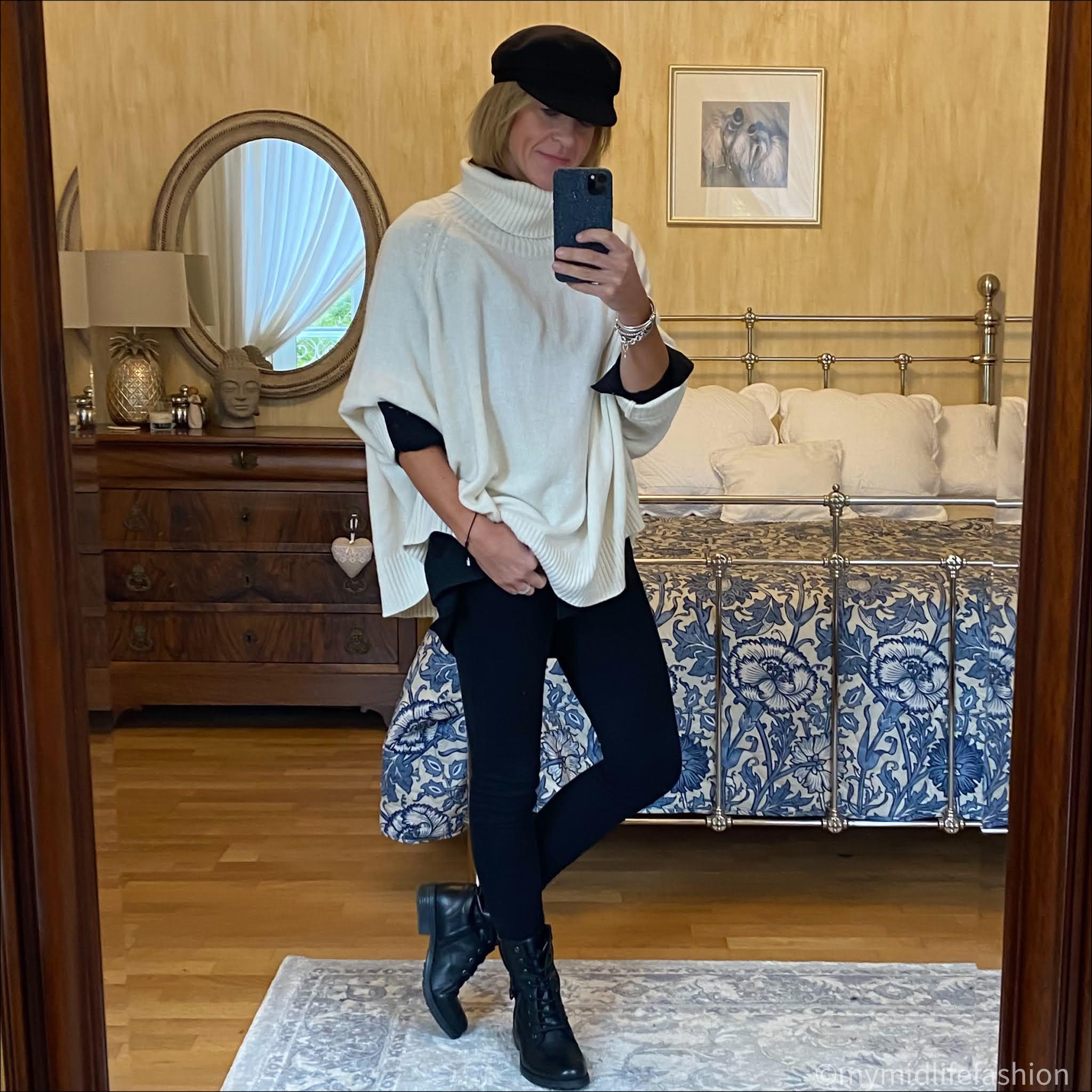 my midlife fashion, pink avocet sloppy Joe cashmere jersey, Carl Scarpa paulette black ankle boots, j crew 8 inch toothpick skinny jeans, zara oversized shirt, Isabel Marant baker boy cap