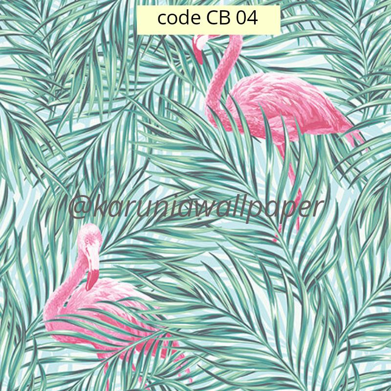 jual wallpaper dinding motif flamingo