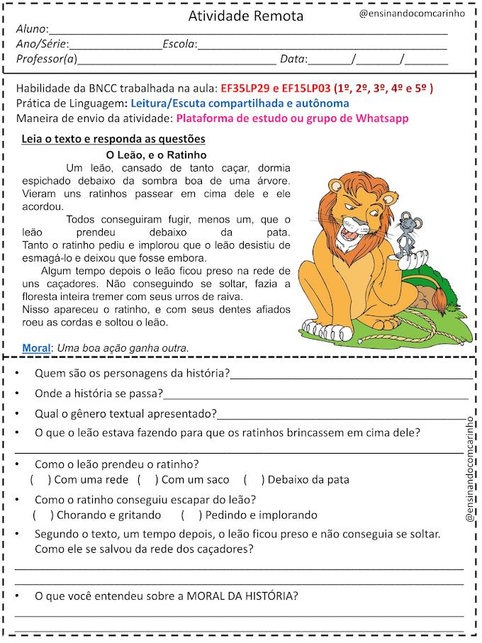Exercício com interpretação da fábula o leão e o ratinho para aulas remotas de acordo com a BNCC