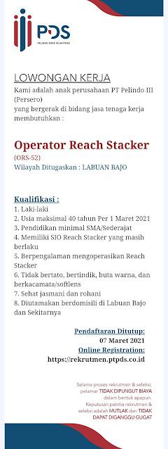 Lowongan Kerja Pelindo Daya Sejahtera Sebagai Operator Reach Stacker