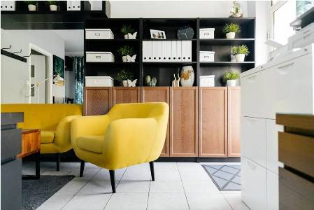 Stylish, tidy, and well-organized living room, symbolizing DIY solutions to keep your home tidy and organized
