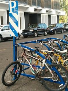 Bike corral parking, Bozeman, Montana