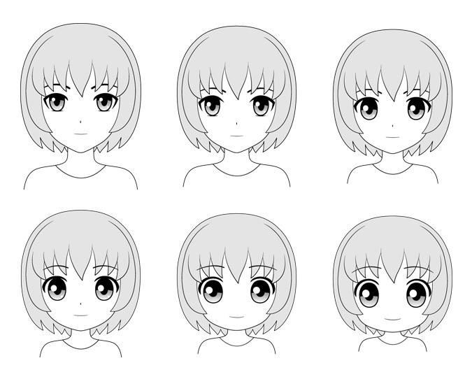 Gaya kepala dan wajah anime yang berbeda