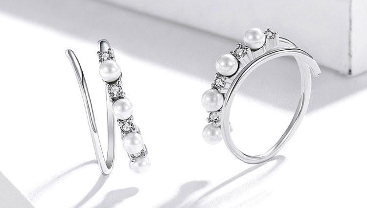 雙圈造型貝珠鋯石 925純銀耳環