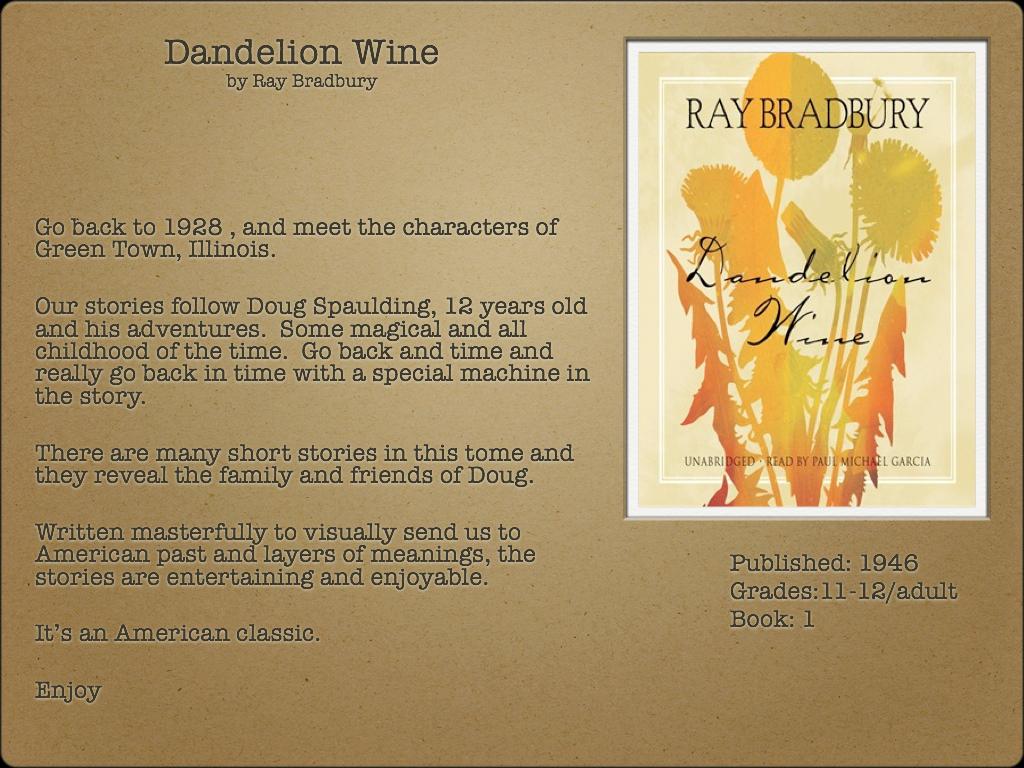 dandelion wine characters