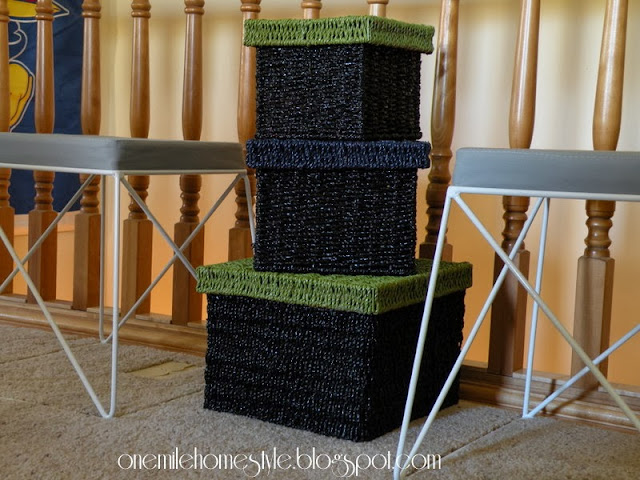 Black, navy and green basket trio