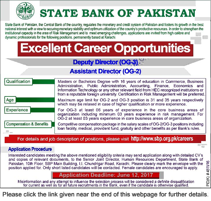 State Bank of Pakistan Jobs May 2017 June SBP Deputy  Assistant