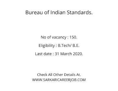 BIS Recruitment 2020 | 150 Posts Latest BIS Vacancy 2020.
