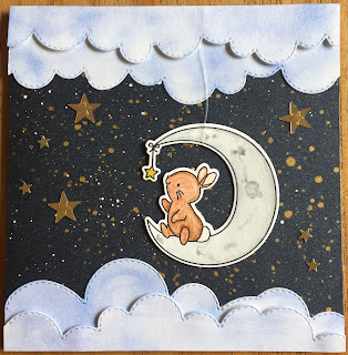 Bunny in moon card