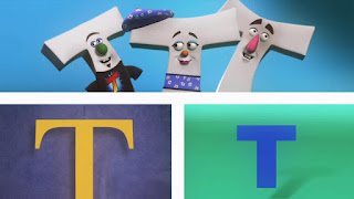 A group of white T's sing I am the Letter T, Sesame Street Episode 4402 Don't Get Pushy season 44