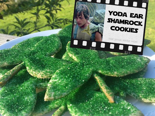 Star Wars St Patricks Day Yoda Ear Shamrock Sugar Cookies