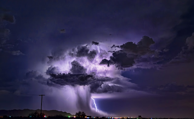Power Nature, supercell storm clouds, thunderstorm, lightning