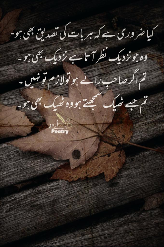 Urdu Poetry - کیا ضروری ہے کہ ہر بات کی تصدیق بھی ہو