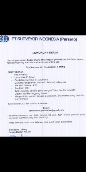 Lowongan Kerja BUMN Terbaru Juni 2021 di PT Surveyor Indonesia (Persero) Tbk