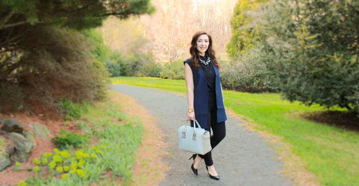 how-to-wear-work-wear-outside-of-work, casual-office-wear, what-is-business-casual, business-casual, how-to-dress-business-casual, trends-for-the-office, work-wear-trends, how-to-dress-trendy-for-work, fashionable-work-outfits, trendy-work-outfit-ideas, white-house-black-market-sleeveless-vest, gap-sleeveless-textured-collared-top, elle-millennium-leggings, express-wide-brimmed-felt-fedora-hat, merona-d'orsay-pumps, simply-vera-wang-bubble-statement-necklace, movado-bold-luxe-chronograph-watch,
