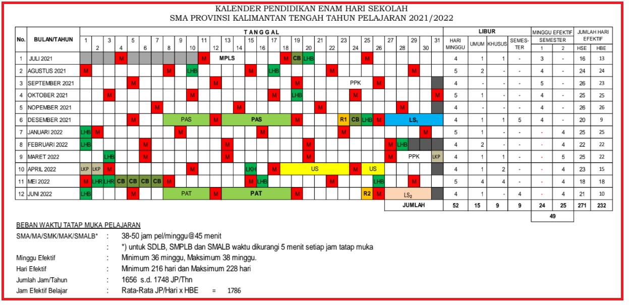 gambar kalender pendidikan provinsi kalimantan tengah 2021 2022