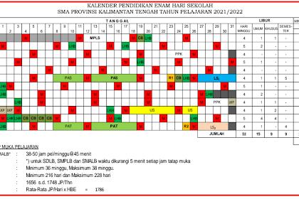 Kalender Pendidikan provinsi kalimantan tengah 2021/2022