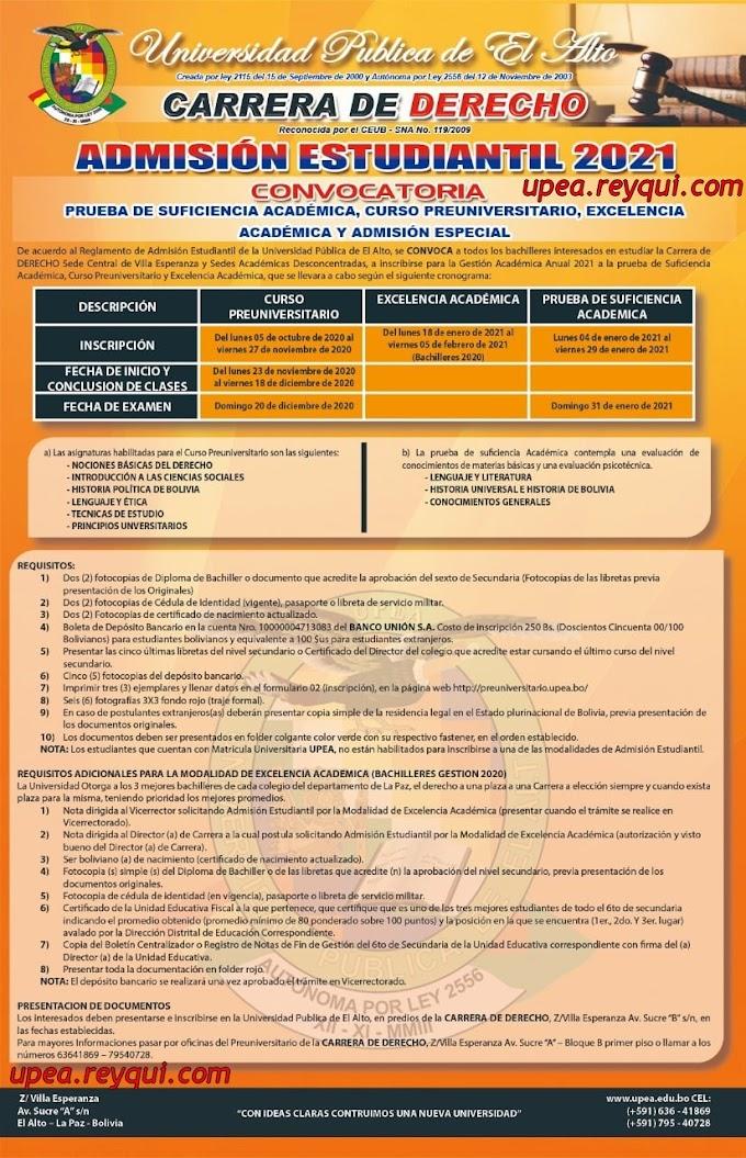 Derecho UPEA 2021: Convocatoria a la Prueba de Suficiencia Académica, Curso Preuniversitario y Excelencia Académica