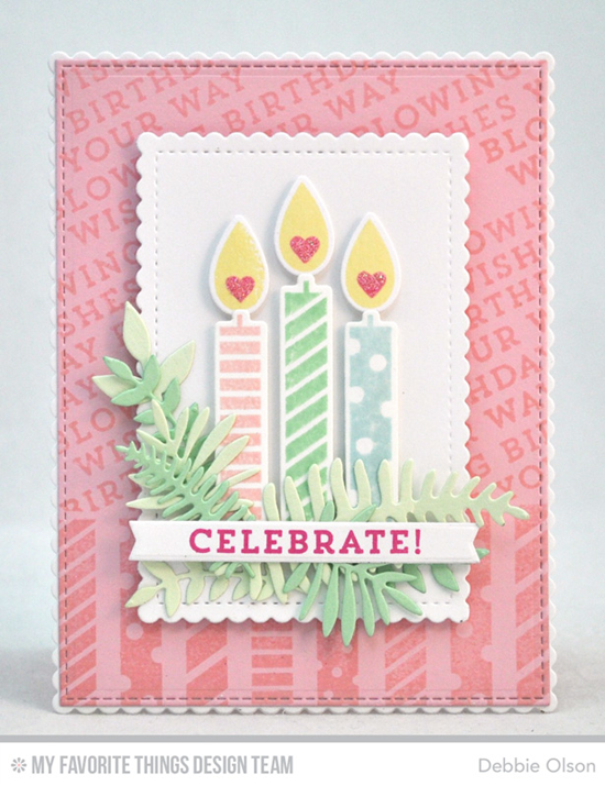 Handmade card from Debbie Olson featuring Make a Wish stamp set and Die-namics, Wild Greenery, Blueprints 24, Blueprints 27, and Stitched Mini Scalloped Rectangle STAX Die-namics #mftstamps