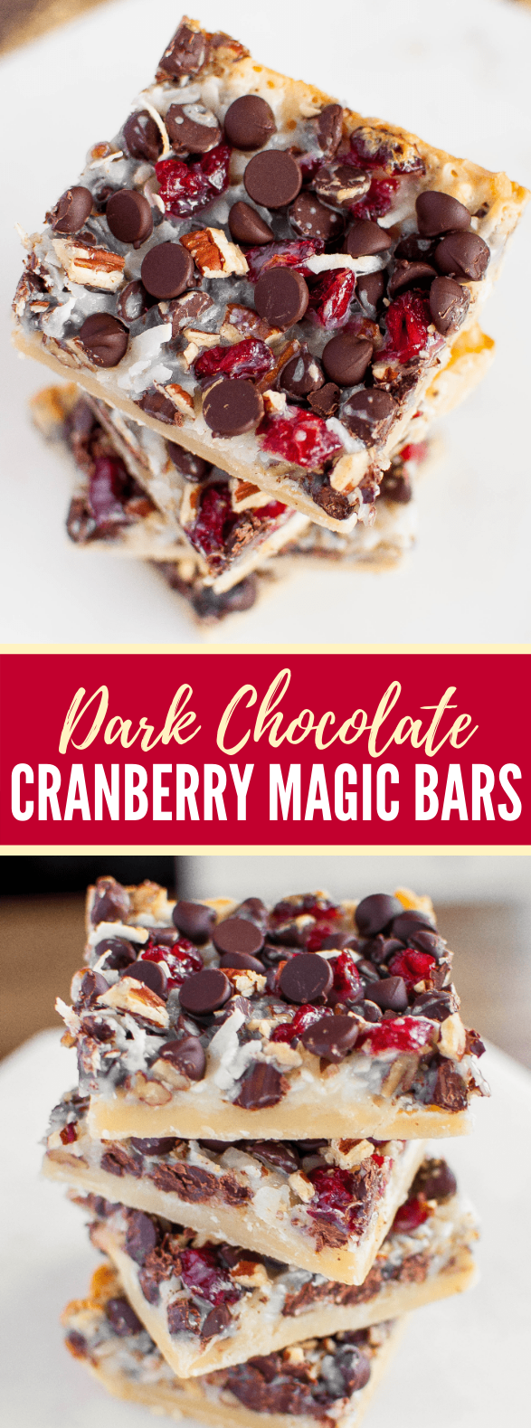 DARK CHOCOLATE CRANBERRY MAGIC BARS #desserts #holidayrecipe