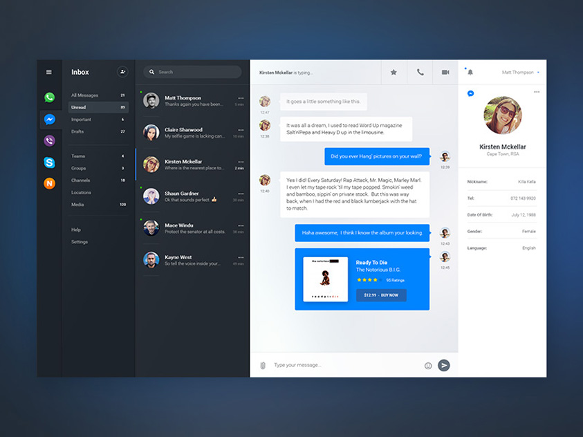 Free Chat Dashboard UI Template