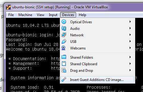Once your VM is up and running, go to Devices -> Insert Guest Additions CD image