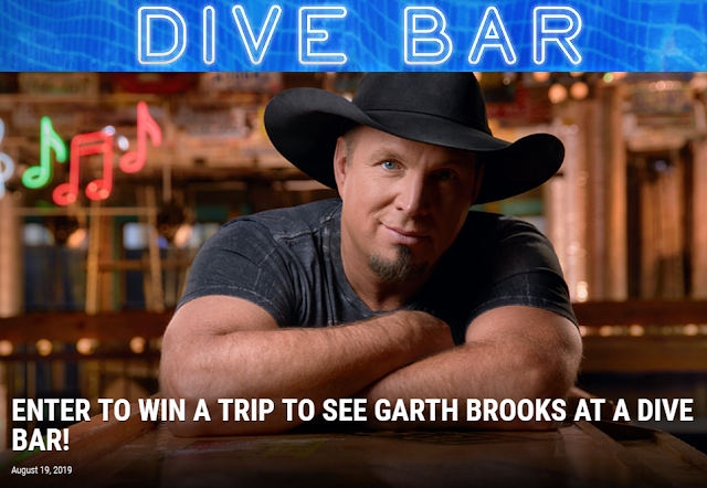 To celebrate Garth's new single, Dive Bar, ONE HUNDRED lucky winners are going to win a trip to see Garth Brooks Live at a Dive Bar!