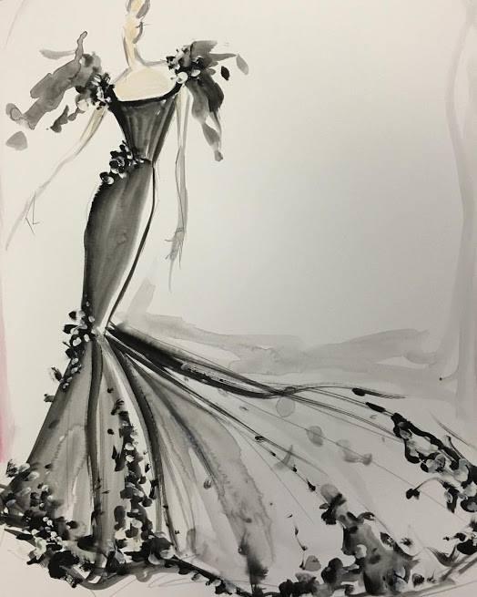 byelisabethnl stylish fashion illustration by fashion designer
