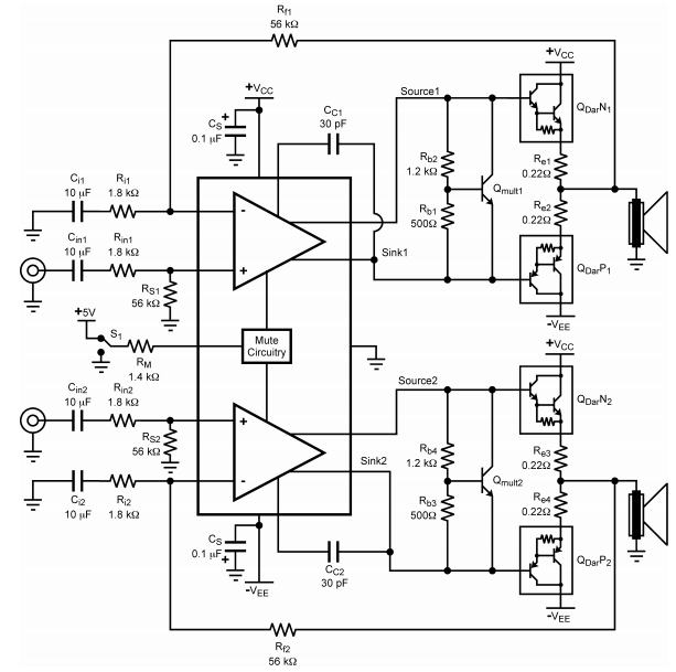 car amplifier circuit 2 x 30 w stereo electronic circuit