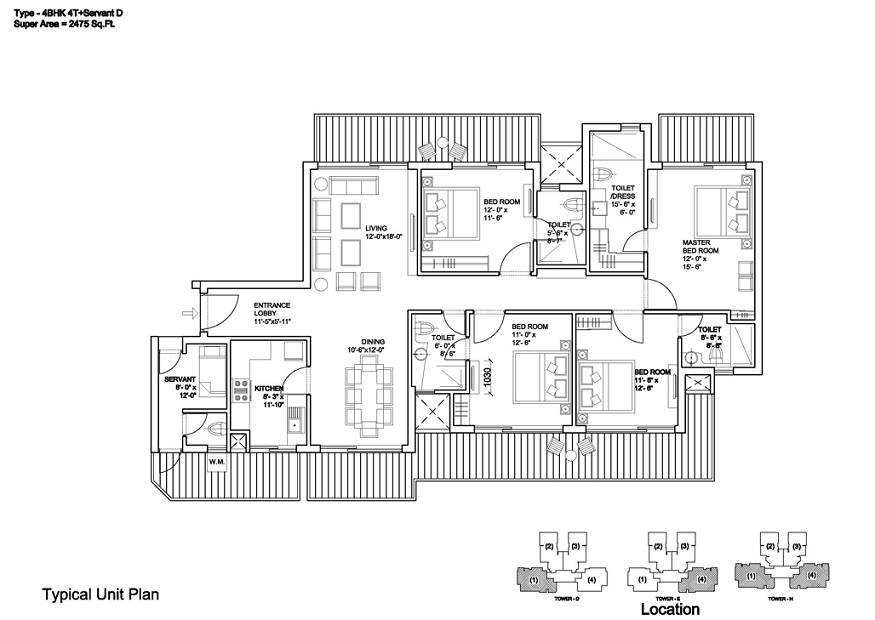 4 BHK + SR (2475 Sq.Ft.) Floor Plan - Bestech Park View Sankruti, Sector-92, Gurgaon (Gurugram)