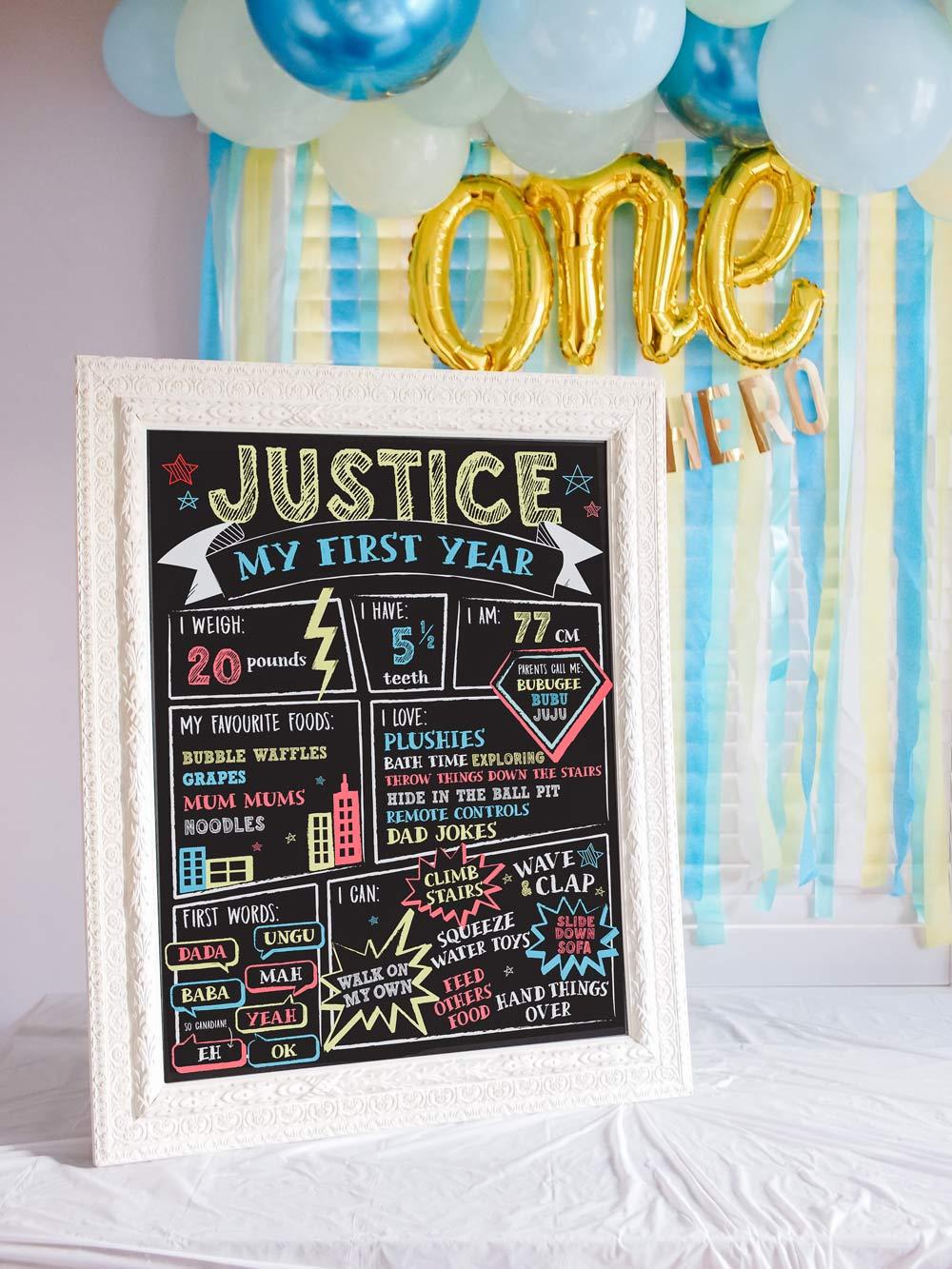 DIY Superhero First Birthday Milestone Chalkboard