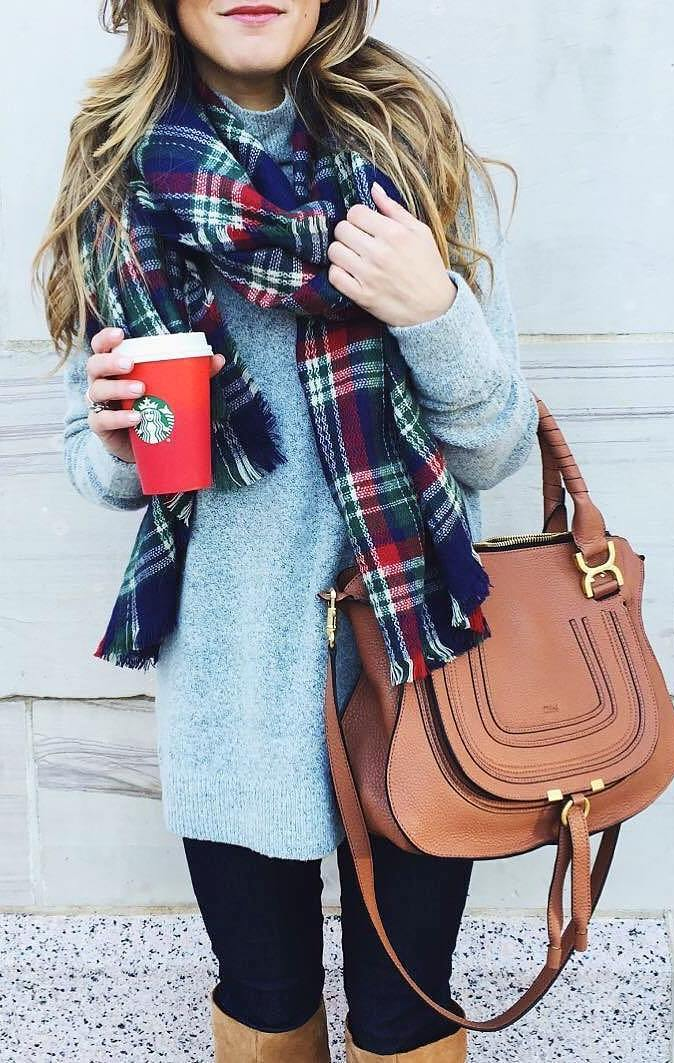 awesome fall outfit / grey sweater + bag + black skinnies + colorful plaid scarf