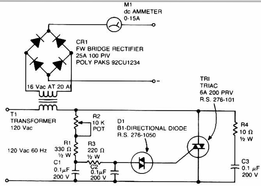 Accu charger use a diac and triac - Electronic Circuit on