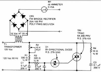 Accu charger circuit use a diac and triac