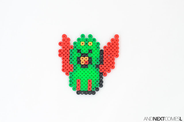 Super Mario World swooper bat perler bead craft from And Next Comes L