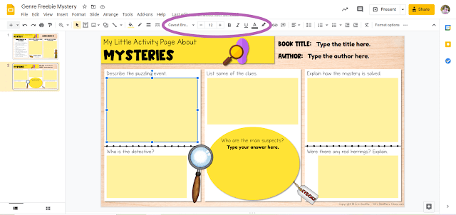 Screenshot depicting how to adjust text style in Google Slides file