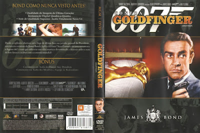 """Reprodução de capa do DVD com o filme """"007 contra Goldfinger"""" de 1964."""