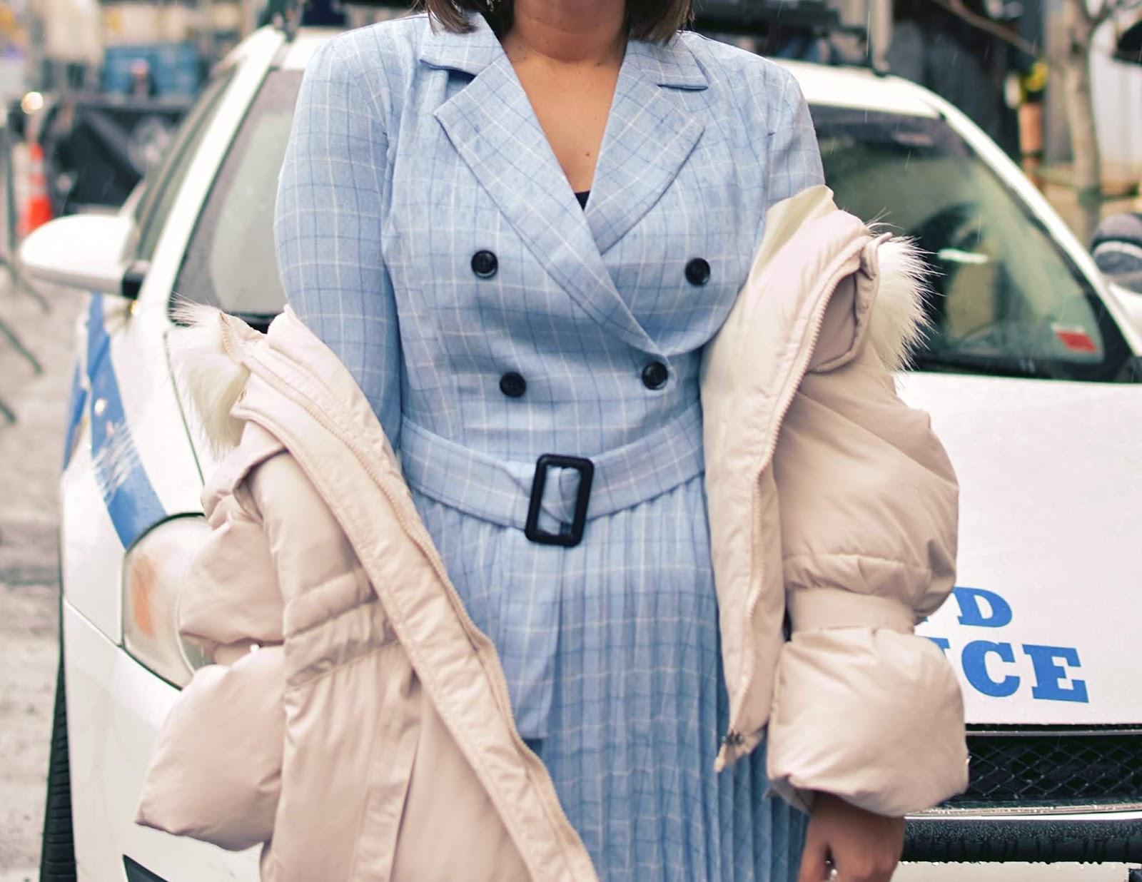 Simplee Plaid Double Button Pleated Hem Buckle Belt Dress by Mari Estilo