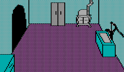 Image from the Sierra game, The Wizard and the Princess (1980).  It shows an eclectic mix of furniture and appliances in a room.