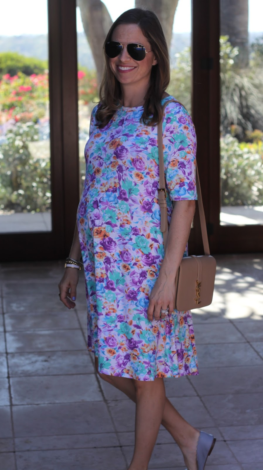 floral dress and chloe flats