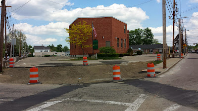 corner of Emmons St and West Central street under construction for the downtown improvement project