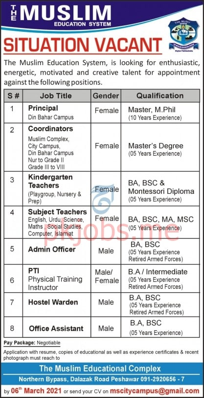 Latest The Muslim Education System Management & Teaching Posts 2021
