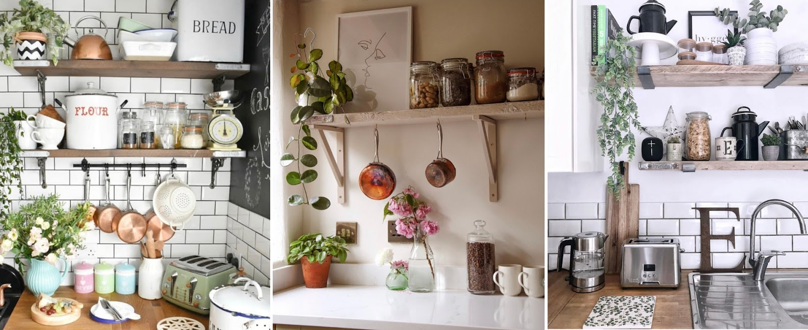 The must-have essential items and accessories you need to style kitchen scaffold board shelves in your home. Kitchen shelf styling tips for rustic, country cottage, vintage style interiors