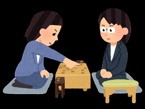 将棋の対局のイラスト(女性)