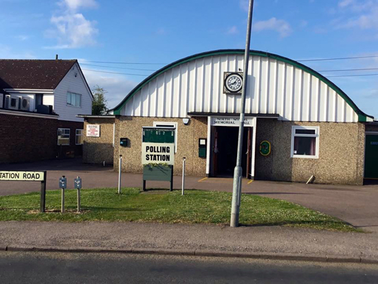 Polling station at the North Mymms Memorial Hall in Welham Green Image courtesy of Welham Green Facebook page