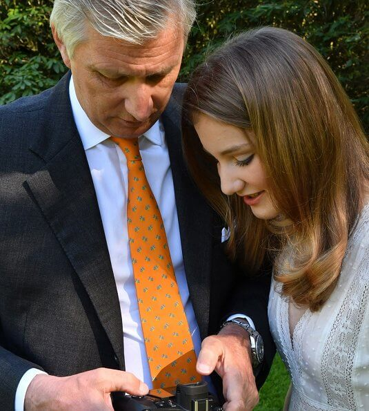 Crown Princess Elisabeth wore a new asymmetrical lace midi dress by The Kooples. Garden of the Castle of Laeken