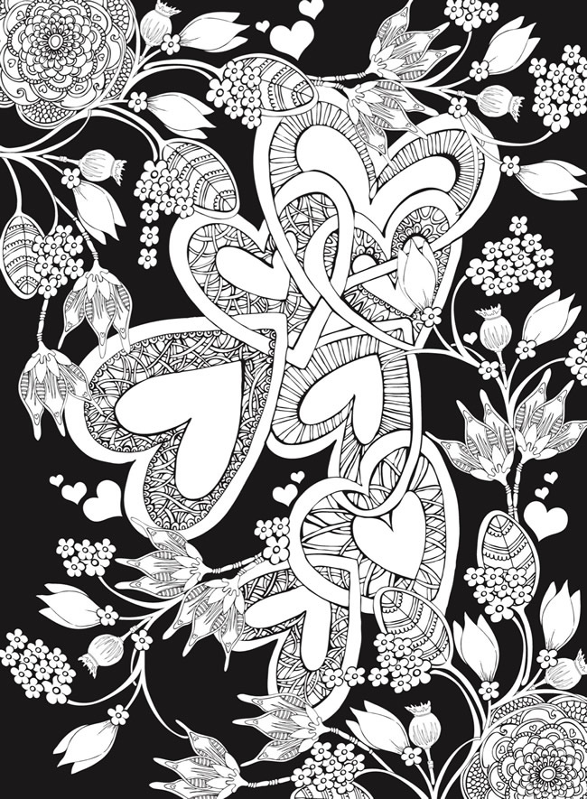 Dragonfly Treasure: Romantic Heart Designs Coloring Pages