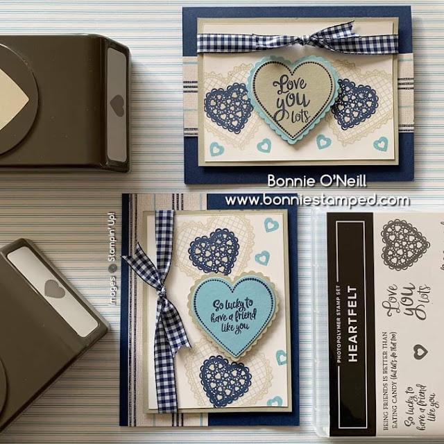 Carte bleue masculine avec La collection Du fond du coeur Stampin' Up! mini catalogue 2020