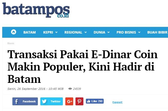 E-Dinar Indonesia - Panduan E Dinar Coin: E Dinar Masuk Berita