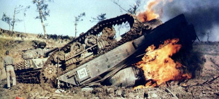 burning Sherman M4A2 worldwartwo.filminspector.com